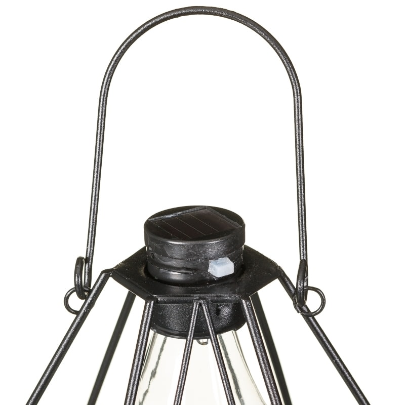 Metal Caged Solar Lantern With Light Bulb Solar