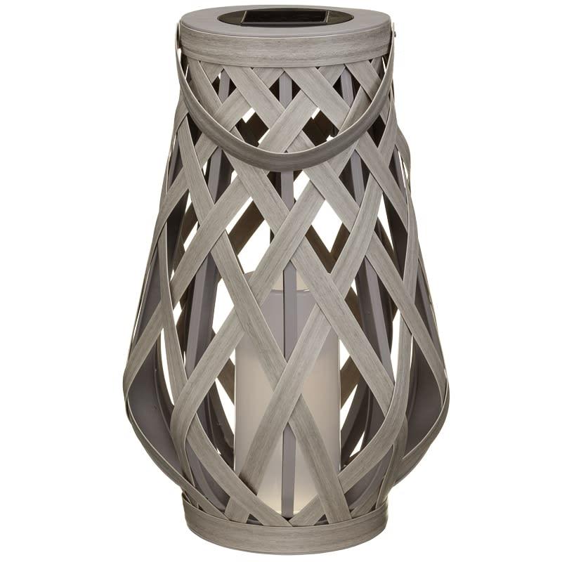 XL Roma Solar Powered Wicker Lantern | Garden Lighting - B&M