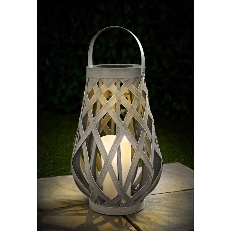 Xl Roma Solar Powered Wicker Lantern Garden Lighting B Amp M
