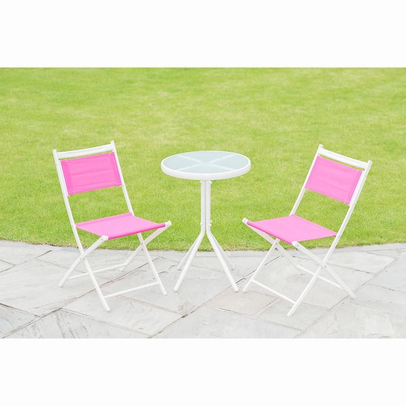 Barcelona Bistro Set 3pc Pink Garden Furniture B Amp M