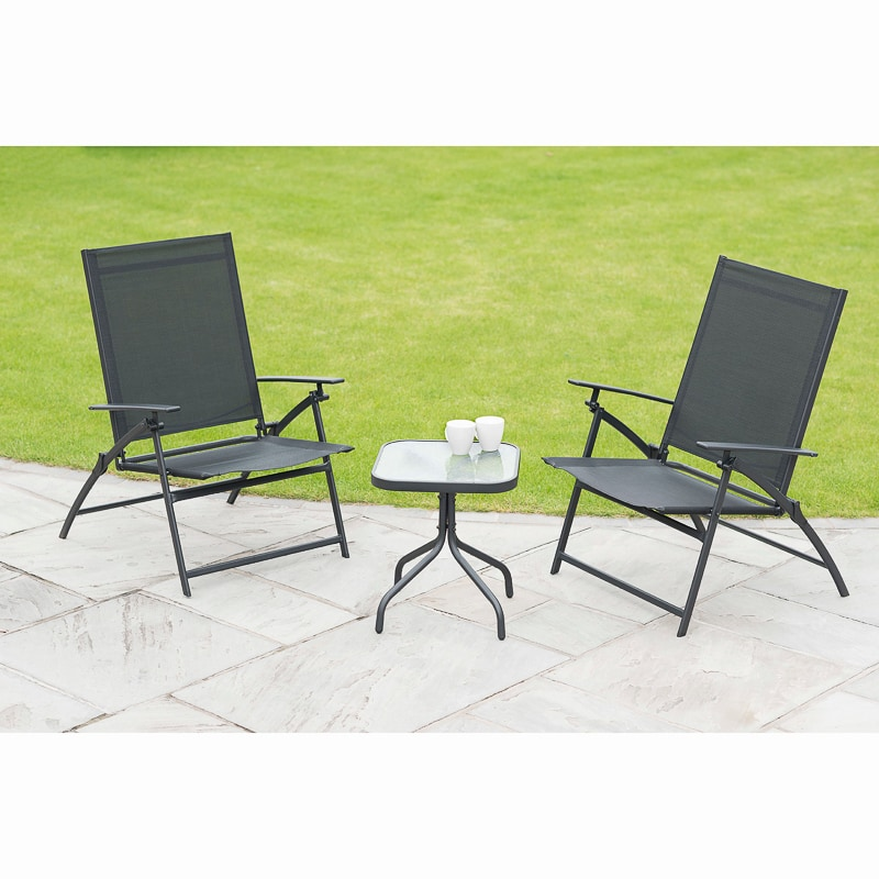 Seattle Folding Bistro Set 3pc   Garden Furniture - B&M