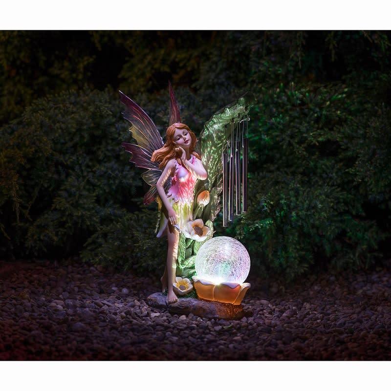 Solar Powered Garden Fairy With Wind Chime Solar