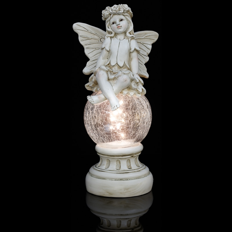 Fairy Statue With Solar Crackle Ball Solar Lighting B Amp M