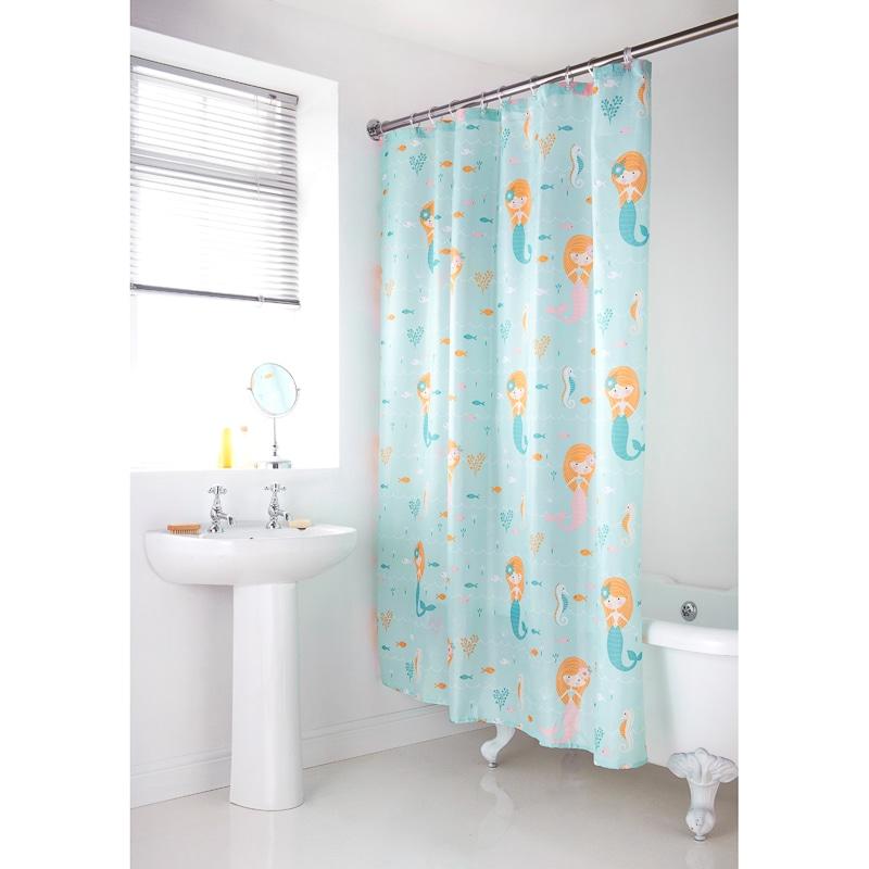 Character Shower Curtain Mermaid Bathroom Accessories