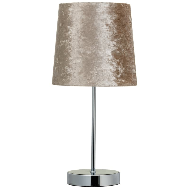 Genial Velvet Look Table Lamp   Beige