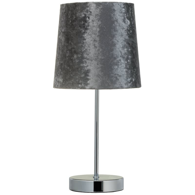 Velvet look table lamp charcoal