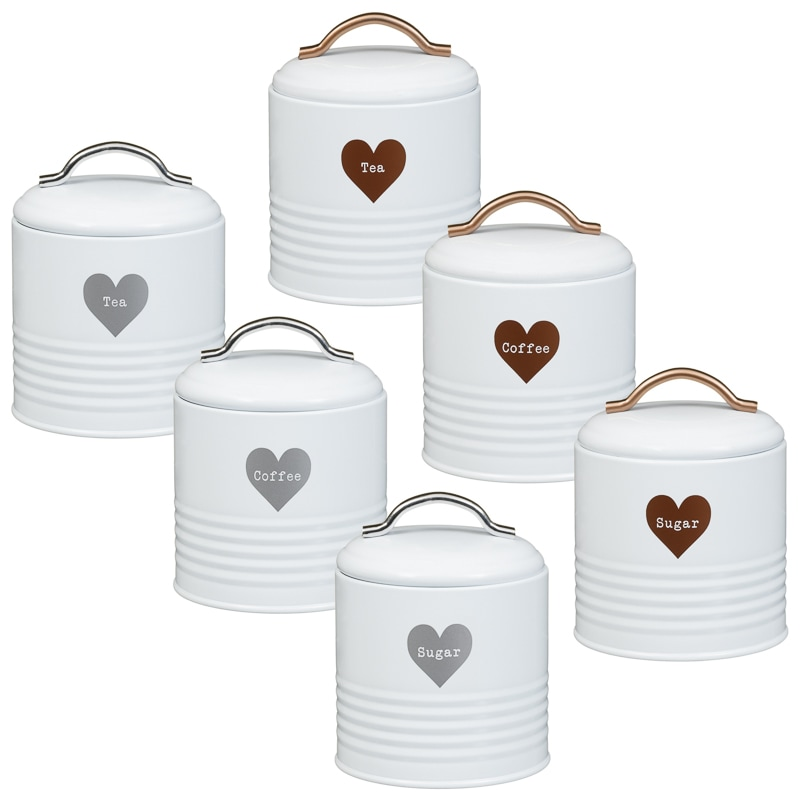 337371-set-of-3-storage-jars-tea-coffee-  sc 1 st  Bu0026M & Heart Tea - Coffee - Sugar Set 3pc - Copper | Kitchen - Bu0026M