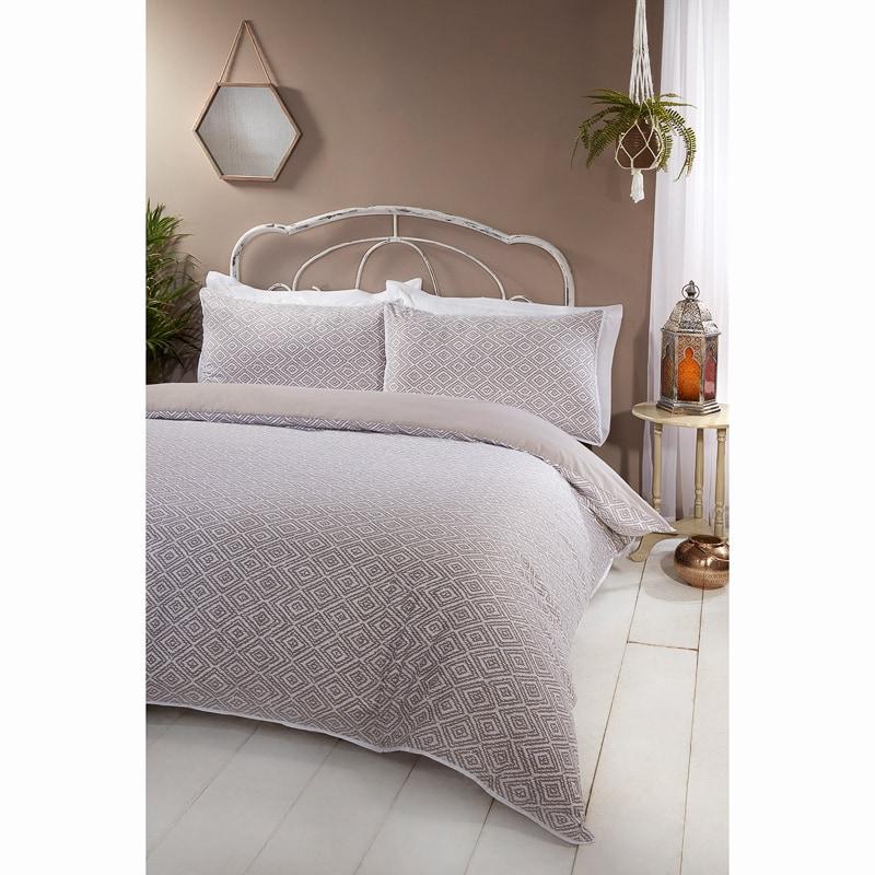 boho piped king duvet set natural duvet cover b m. Black Bedroom Furniture Sets. Home Design Ideas