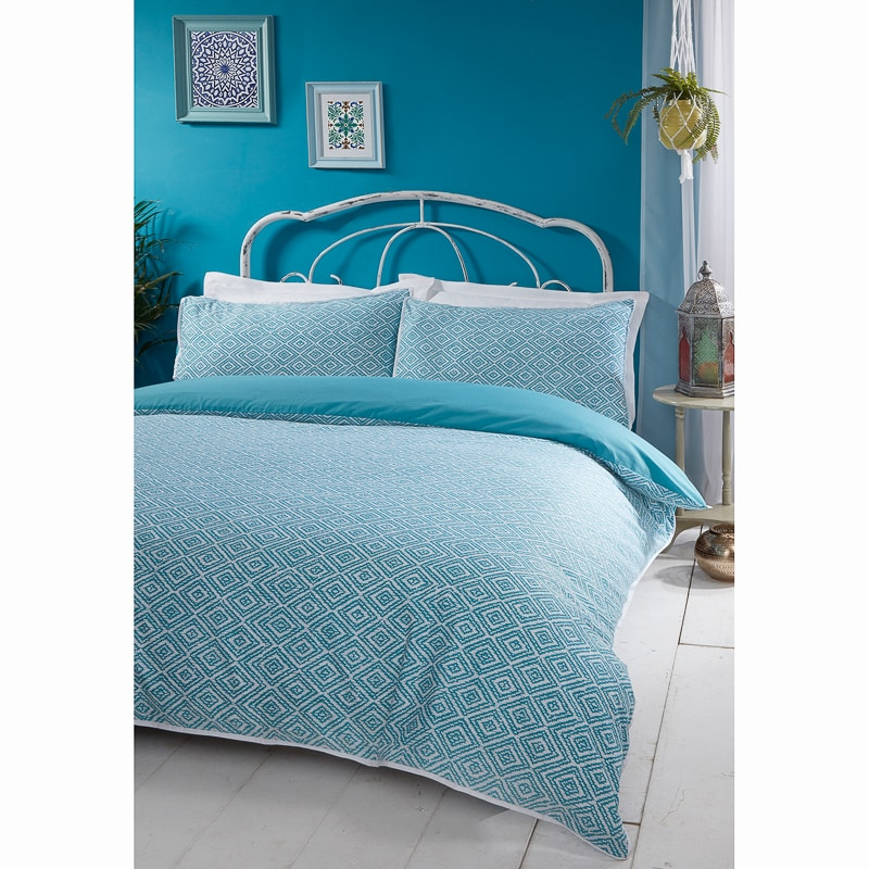 boho piped king duvet set teal duvet cover b m. Black Bedroom Furniture Sets. Home Design Ideas