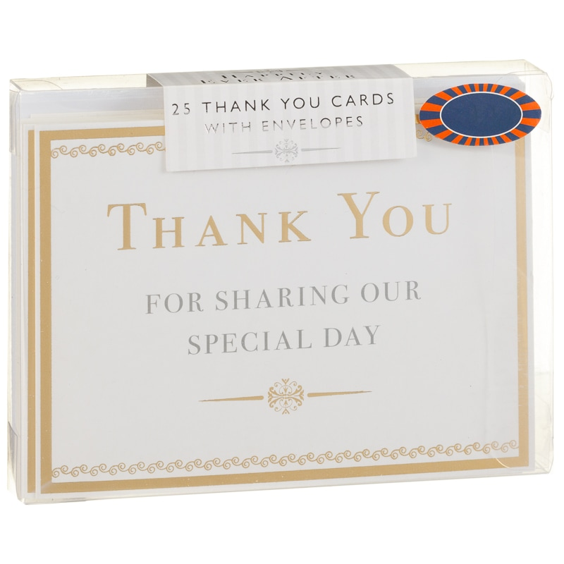 Thank You Cards 25pk - Gold