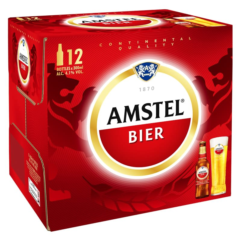 Amstel Lager Bottles 12 x 300ml