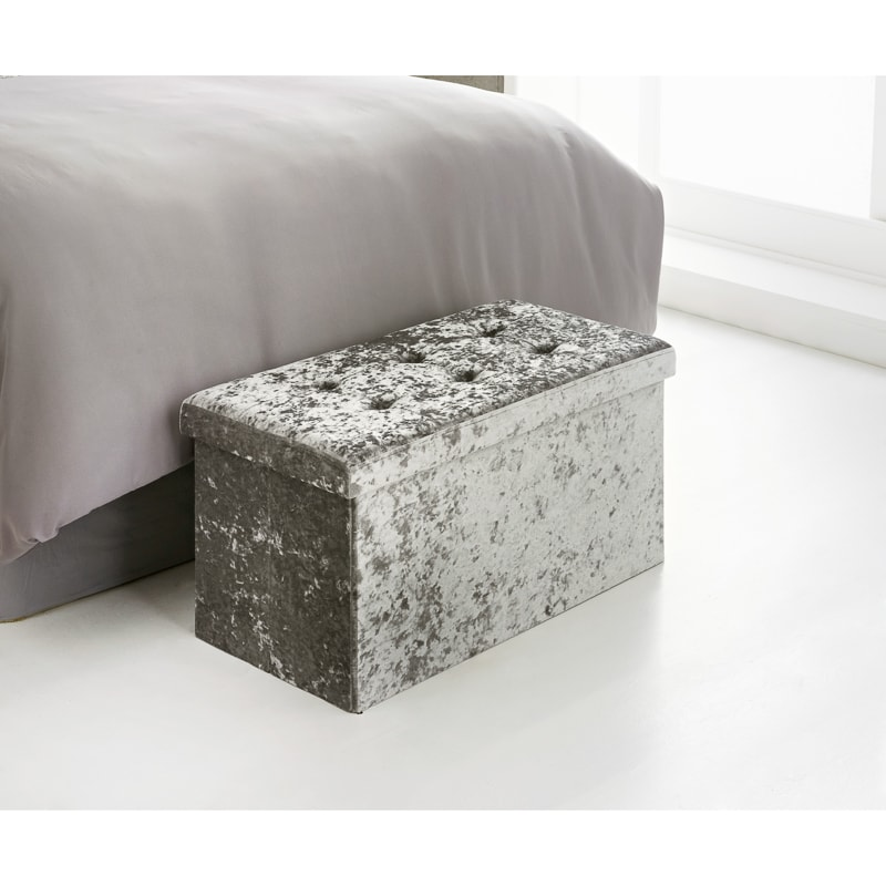 Ottomans Ellis Dark Grey Velvet Finish Storage Chest: Luxe Velvet Storage Ottoman - Silver