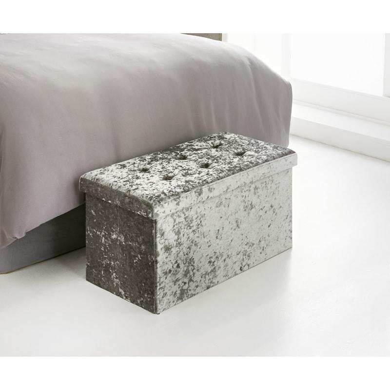 Swell Luxe Velvet Storage Ottoman Silver Alphanode Cool Chair Designs And Ideas Alphanodeonline