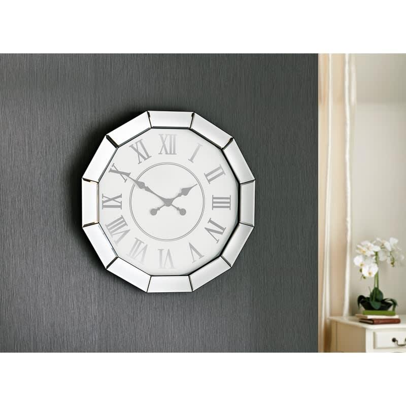 Large Mirrored Clock Home Decor B M