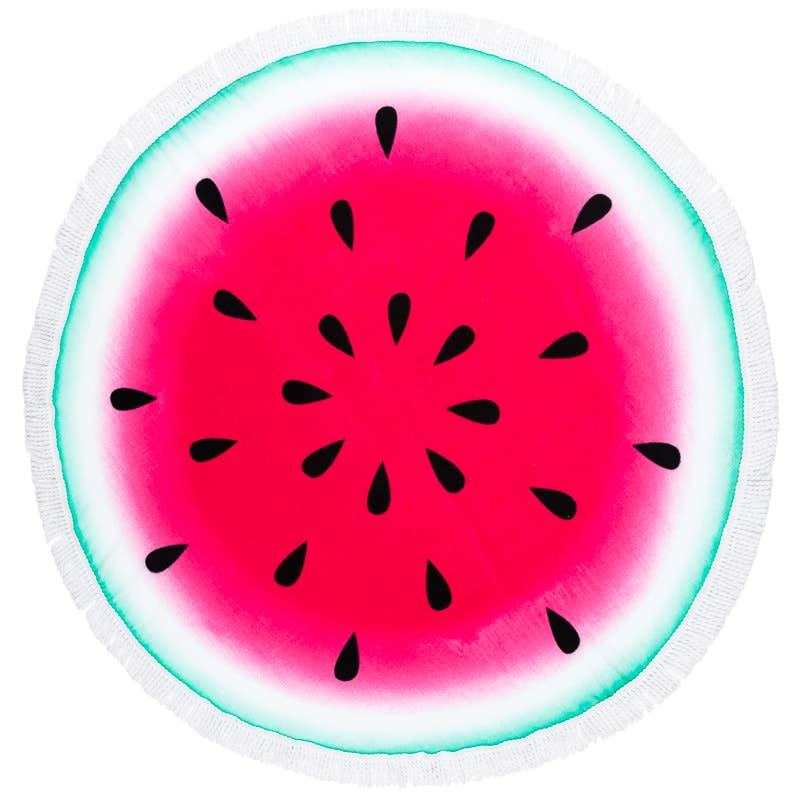 Round Beach Towel with Fringing - Watermelon