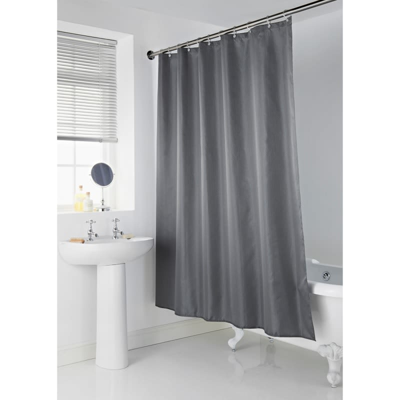 Addis Jacquard Shower Curtain Grey Bathroom B Amp M