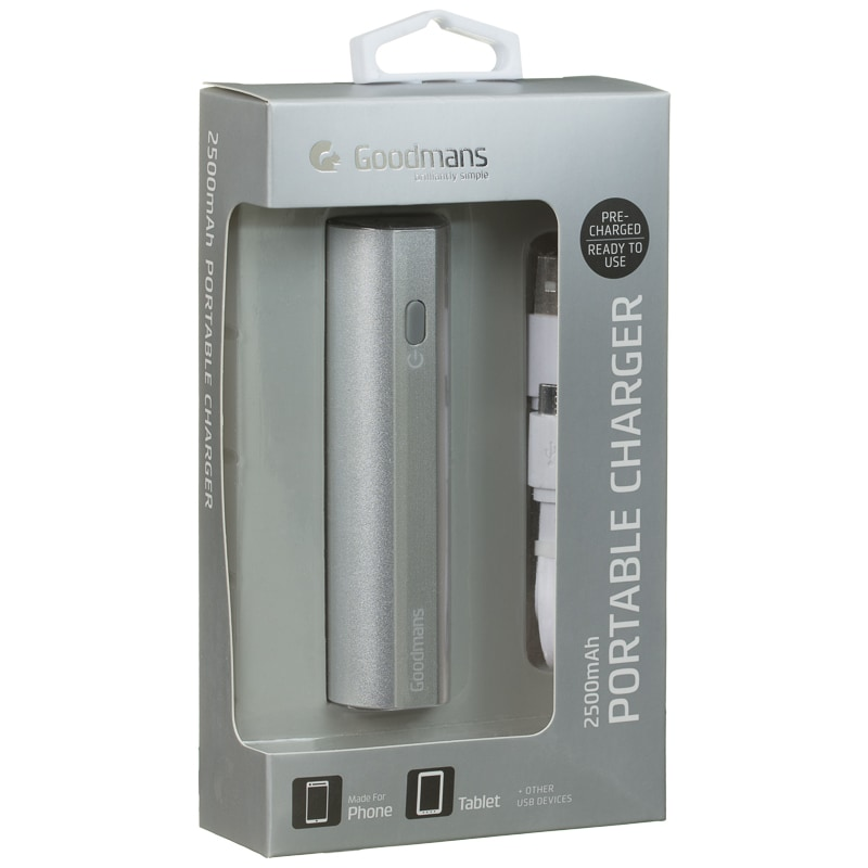 Goodmans 2500mAh Portable Charger - Silver