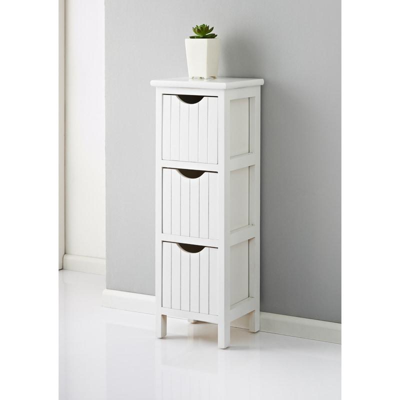 Maine 3 Drawer Chest White Home Bathroom Furniture B Amp M