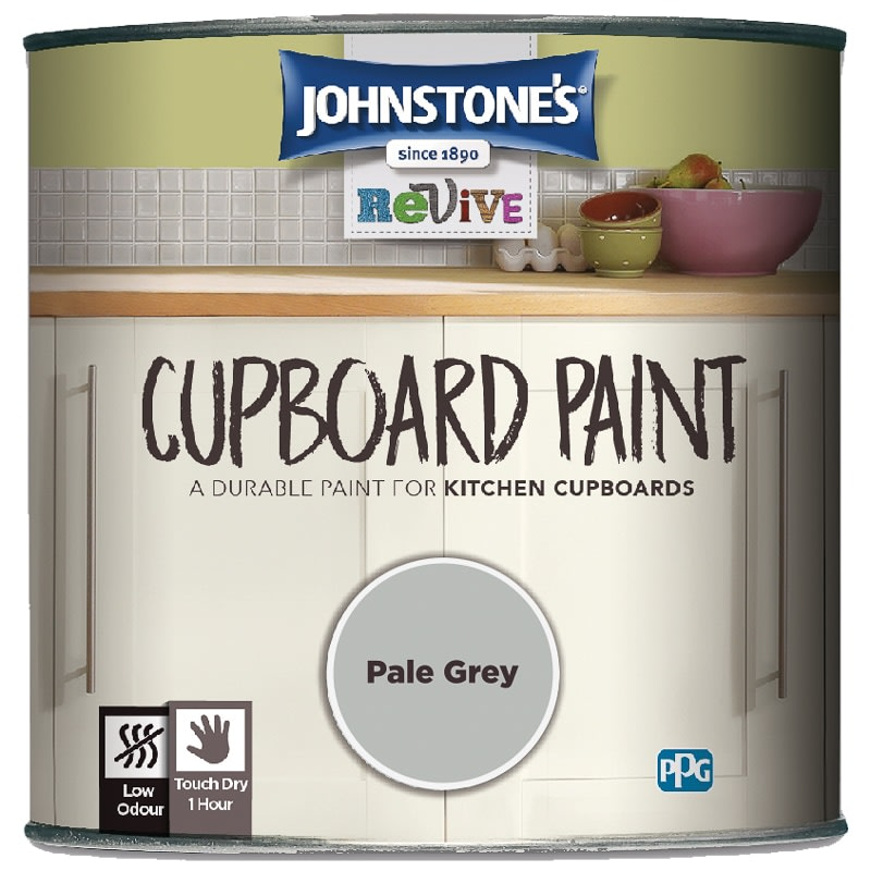Johnstones Revive Cupboard Paint Ml Pale Grey Paint BM - Grey kitchen cupboard paint