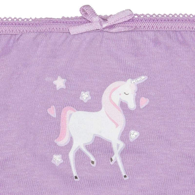 Younger Girls Unicorn Briefs 7pk - Purple