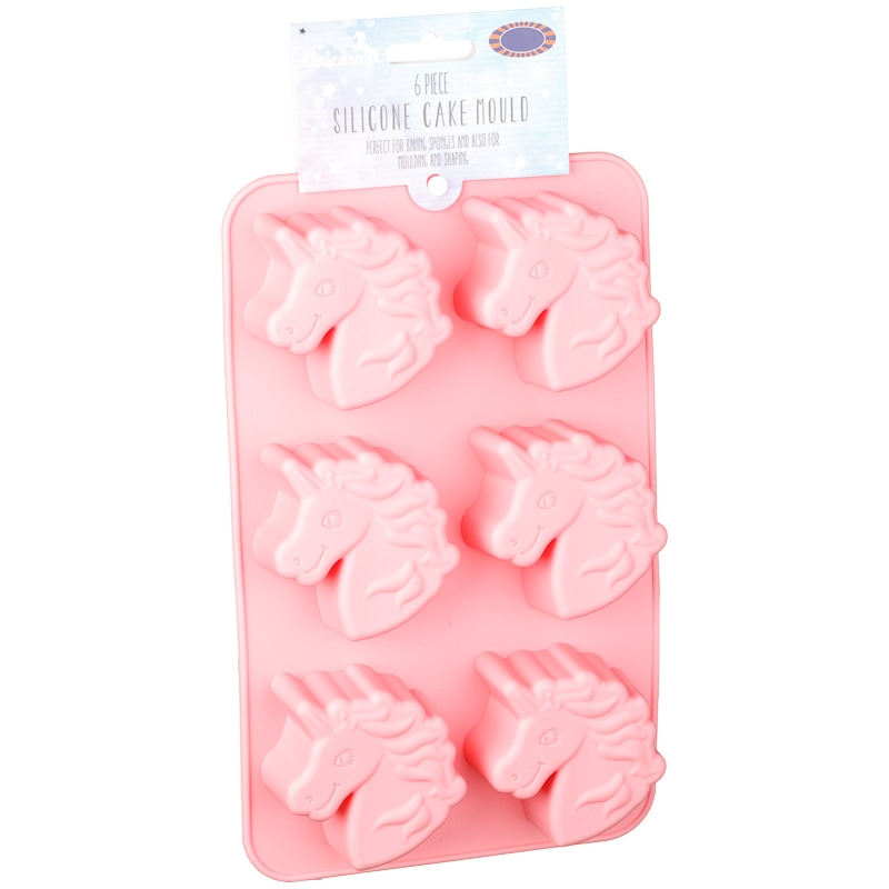 Silicone Unicorn Cupcake Moulds 6pc Pink Baking B Amp M