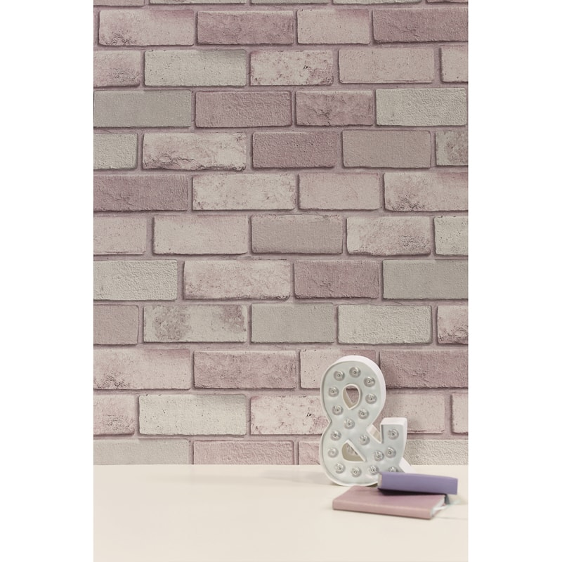 Diamond Brick Wallpaper - Pink