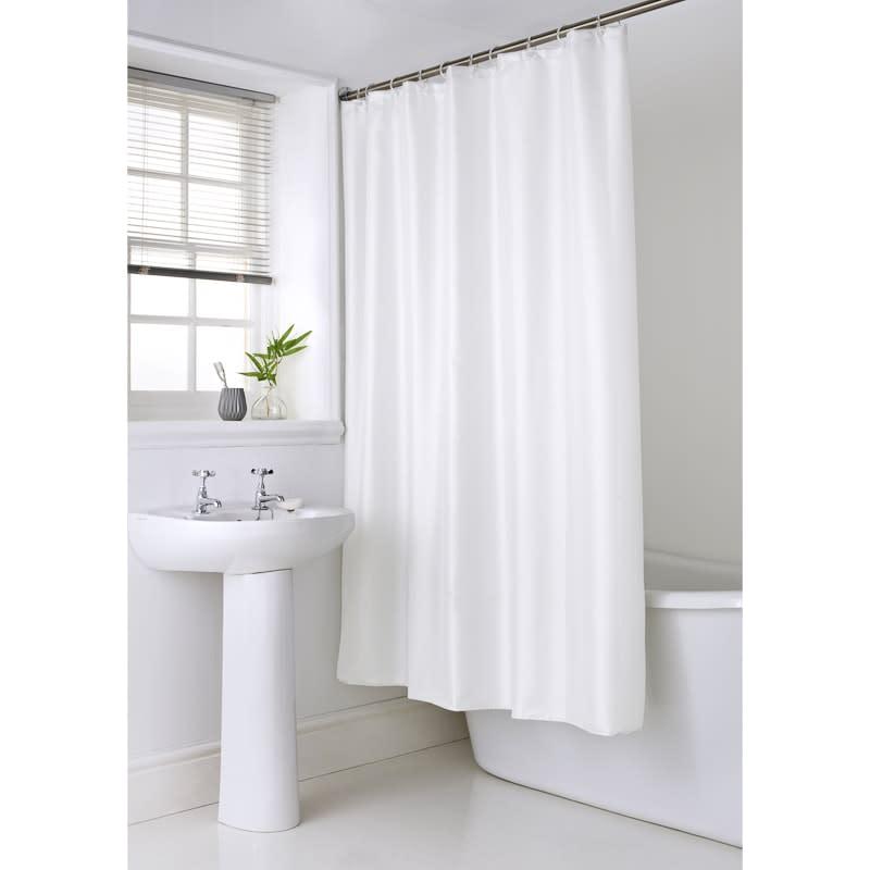 334388 Shimmer Shower Curtain White