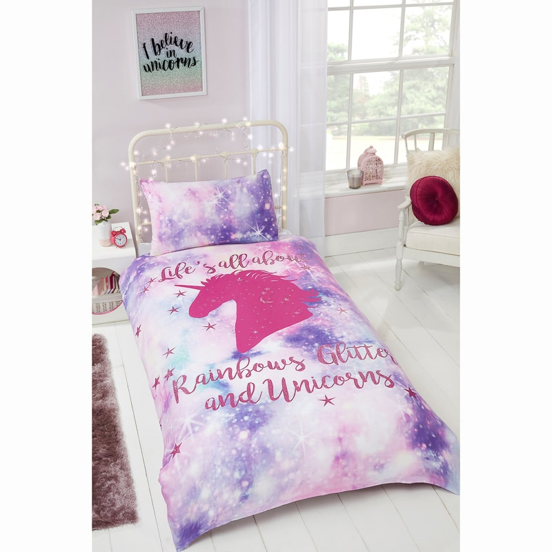 Rainbow Unicorn Single Duvet Set Bedding B M
