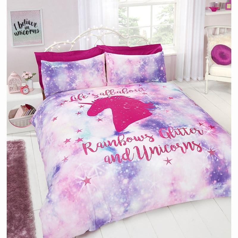 Rainbow Unicorn Double Duvet Set Bedding B Amp M