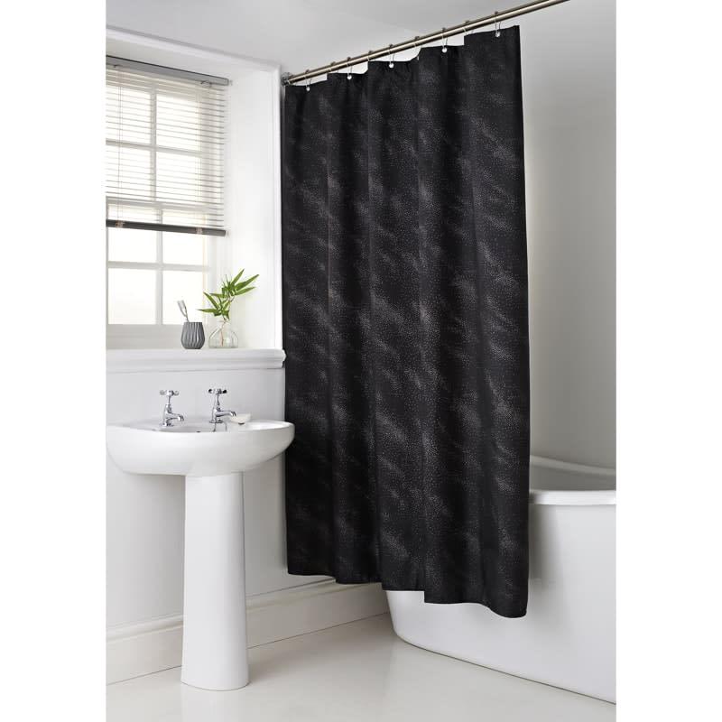Sparkle Shower Curtain Black Bathroom B Amp M