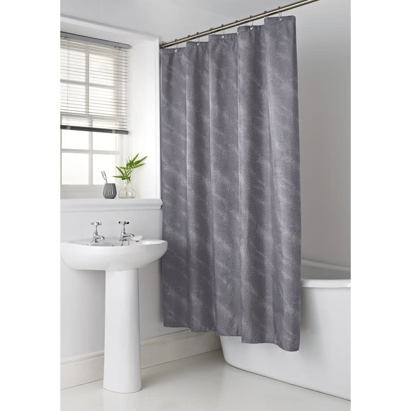 White Grey Bathroom Curtains: Sparkle Shower Curtain - Grey