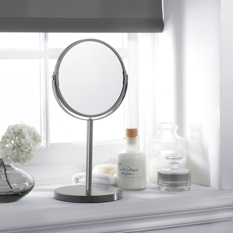 Large Cosmetic Mirror on Stand - Grey