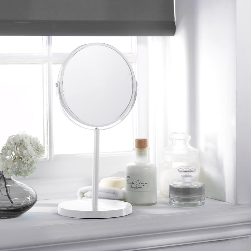 Large Cosmetic Mirror on Stand - White