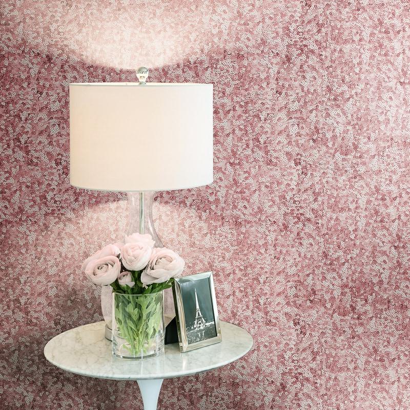 Lipsy Sequins Wallpaper - Pink