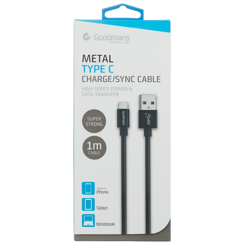 Goodmans USB Type C Metal Charging Cable - Black