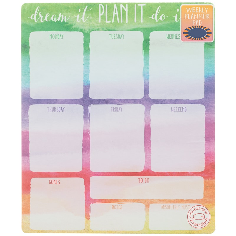 Weekly Planner Pad - Watercolour | Stationery - B&M