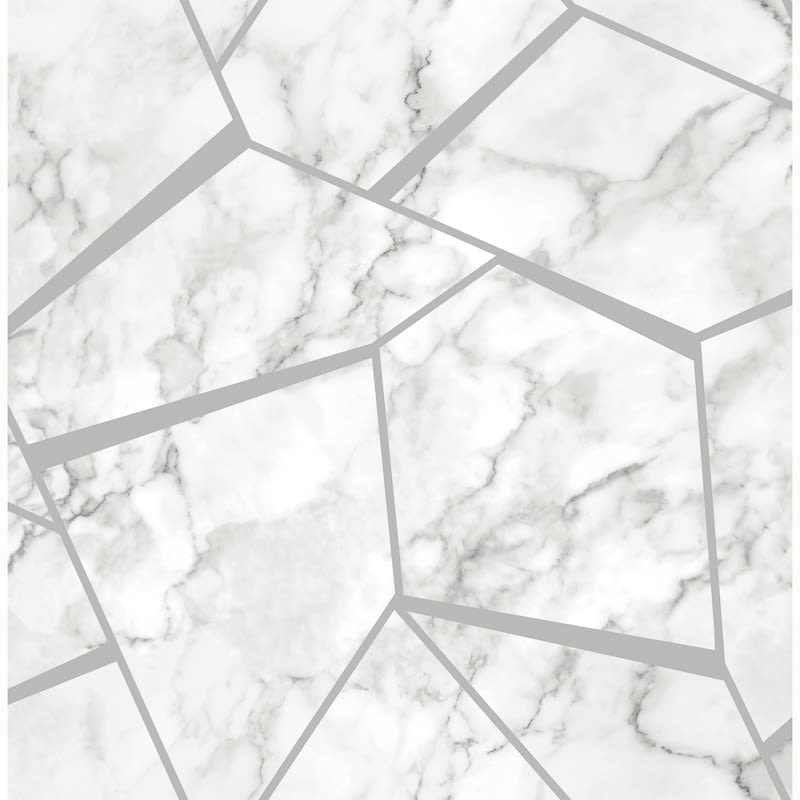 334917 Fine Decor Fractal Marble Silver Wallpaper