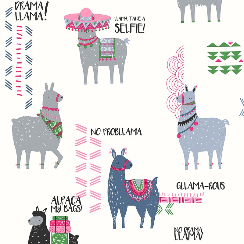 Drama Llama Wallpaper Pink Amp Black Diy B Amp M