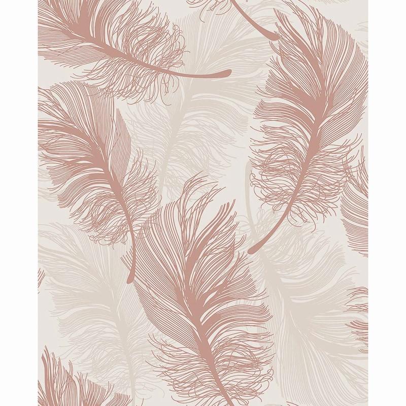 plume foil wallpaper   rose gold diy   b amp m