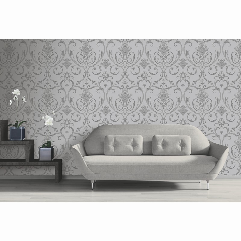 Isabella Damask Wallpaper - Silver