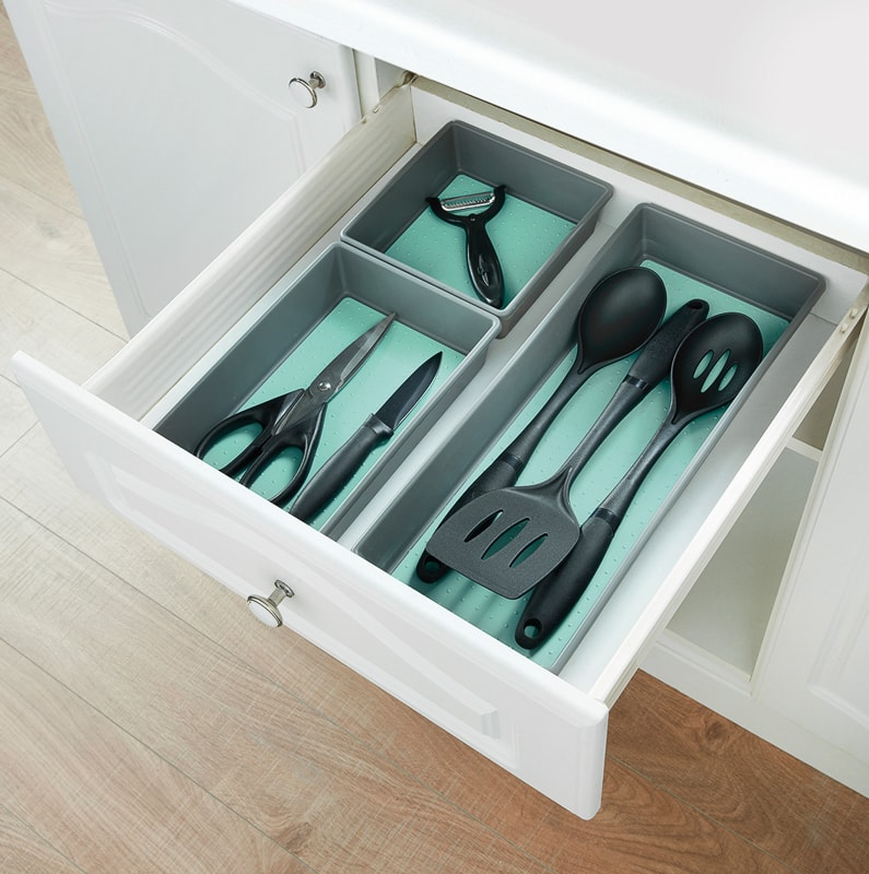 Spaceways Non-Slip Trays 3pk - Grey & Aqua