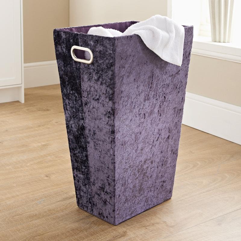 Crushed Velvet Laundry Hamper Purple Laundry B Amp M
