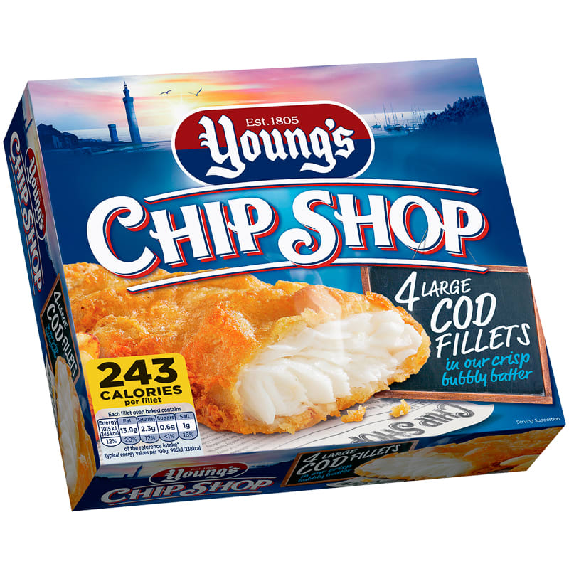Young's Chip Shop 4 Large Haddock Fillets 480g