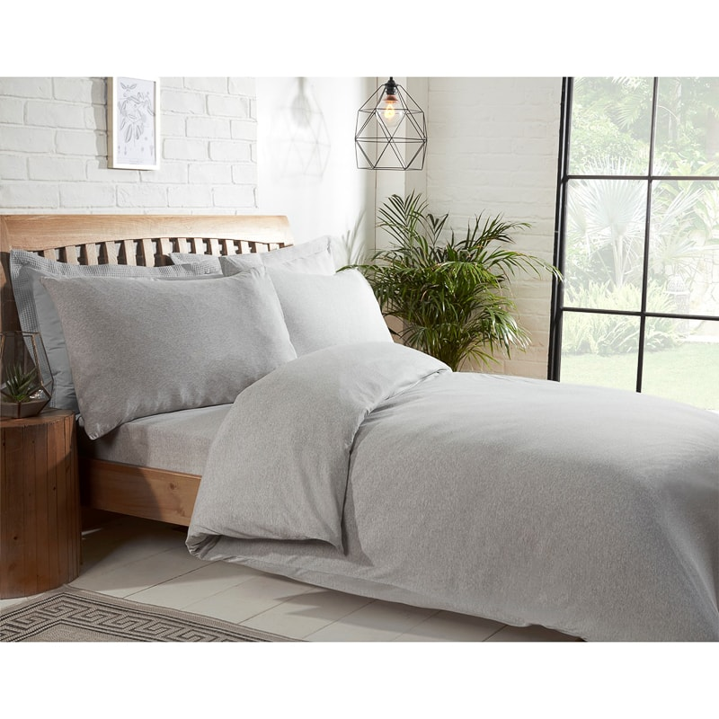 Silentnight Jersey Double Duvet Set Light Grey Bedding