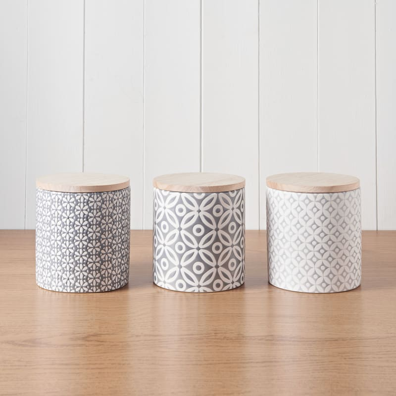 Embossed Geometric Storage Canisters 3pc