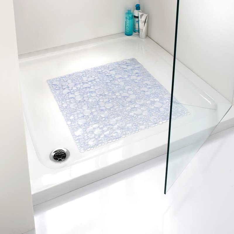 Square Bubble Shower Mat Clear Bathroom B Amp M