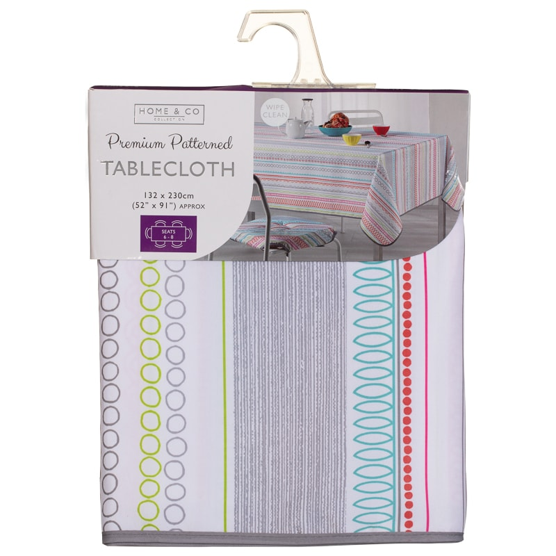 Home & Co Printed Tablecloth 132 x 230cm - Bright Linear