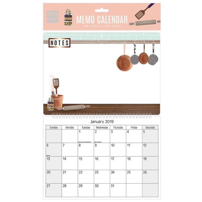memo calendar 2019 kitchen stationery b m