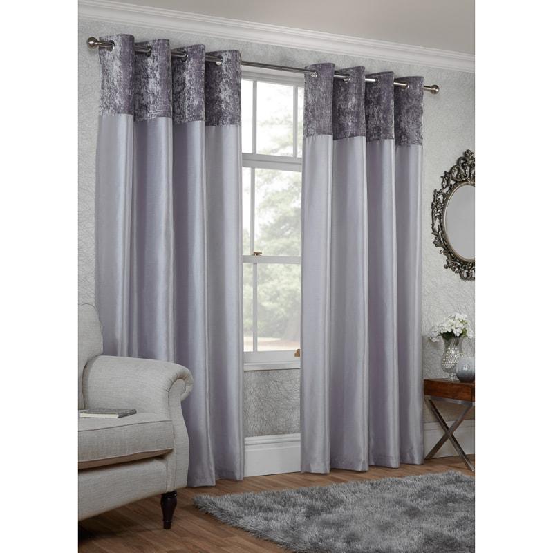 Crushed Velvet Top Border Thermal Eyelet Curtains 66 X 90