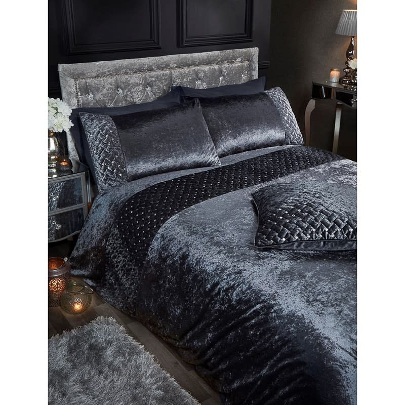 Designer Premium Bedding Valentina Sequins Velvet Duvet Cover Set
